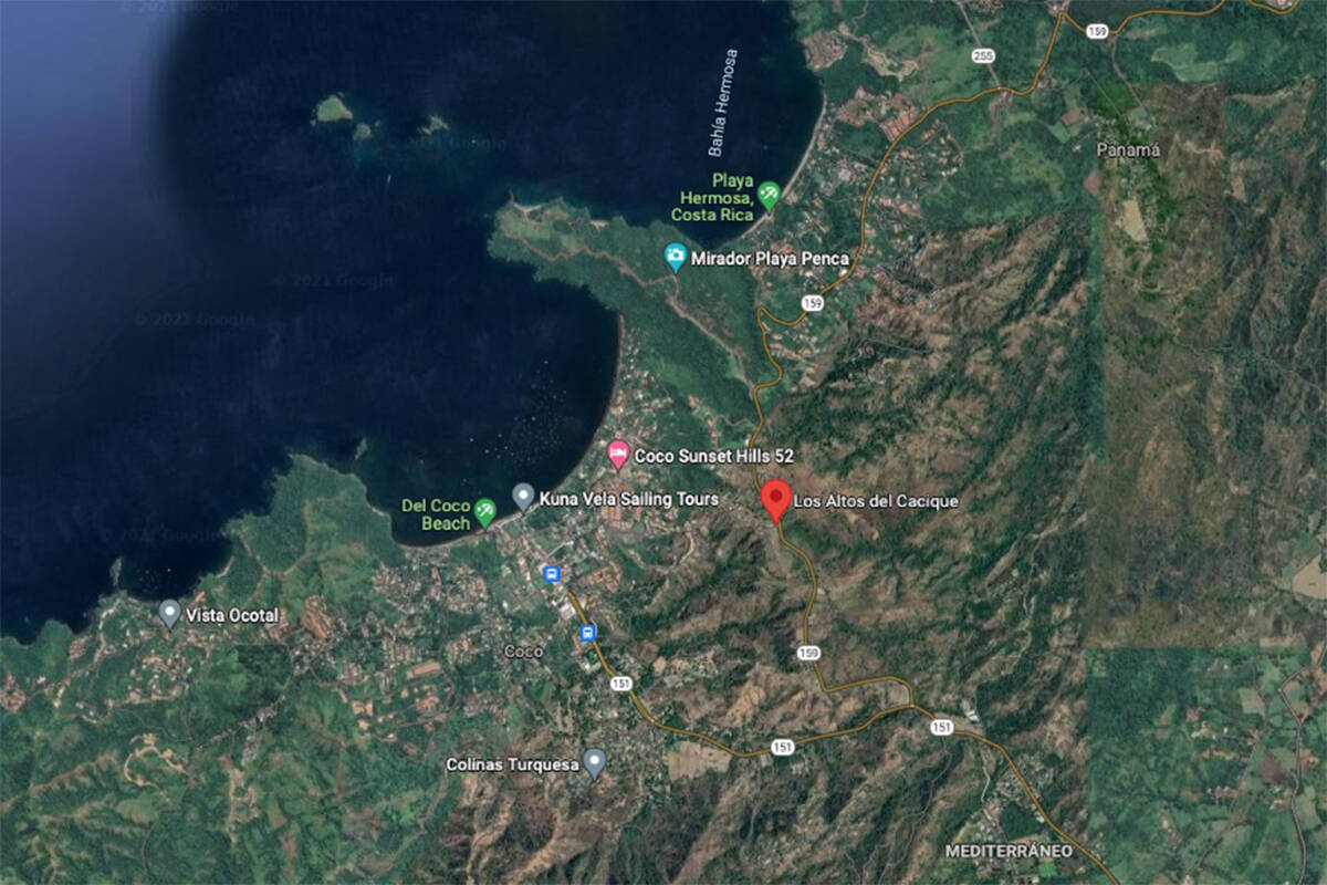 The red marker indicates the area where Jaclyn Smith Ferland was living with her husband in Costa Rica at the time of her disappearance on Aug. 17.