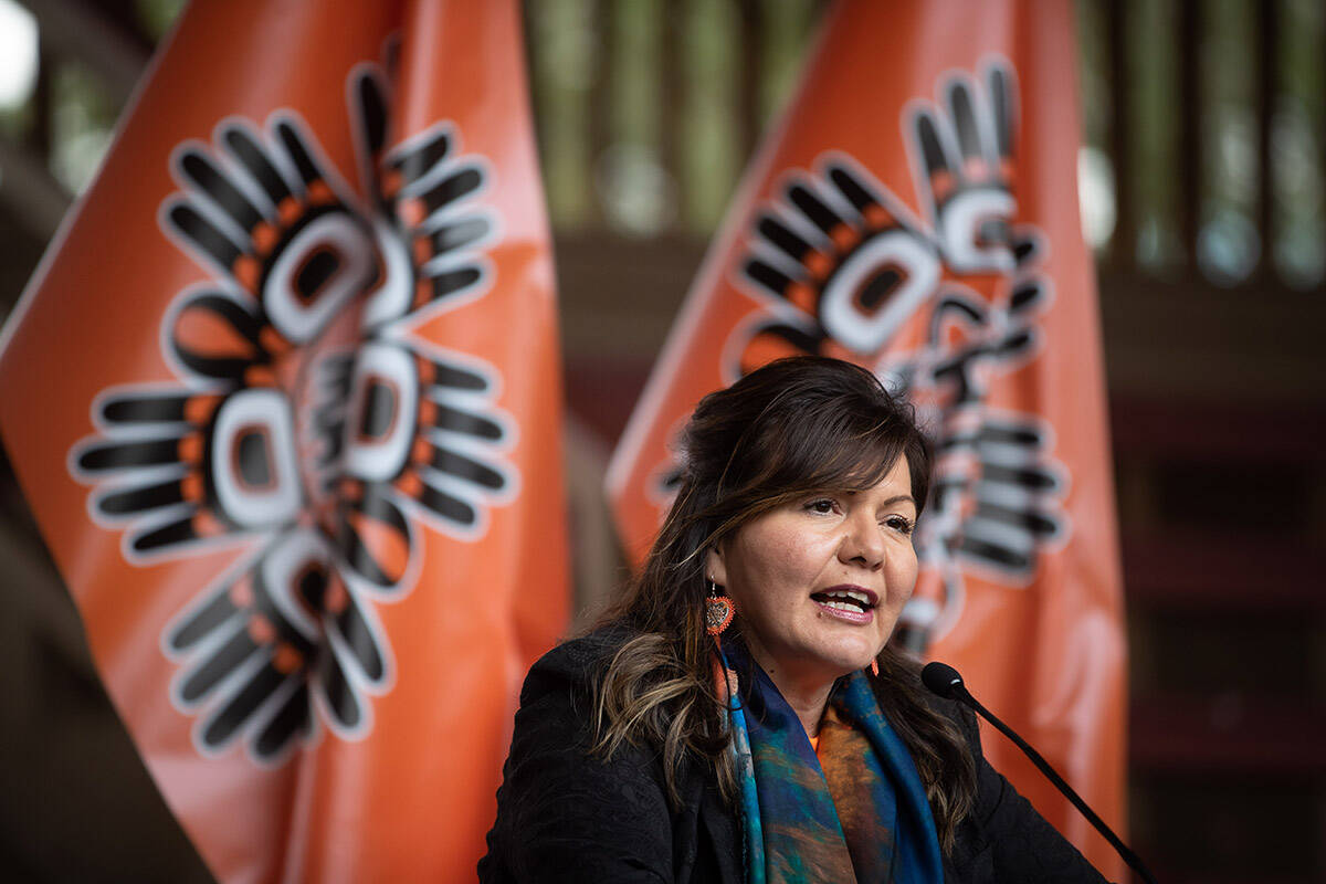 Tk'emlups te Secwepemc Kukpi7 (Chief) Rosanne Casimir speaks during a news conference ahead of a ceremony to honour residential school survivors and mark the first National Day for Truth and Reconciliation, in Kamloops, BC., on Thursday, September 30, 2021. The remains of 215 children were discovered buried near the former Kamloops Indian Residential School earlier this year. THE CANADIAN PRESS/Darryl Dyck