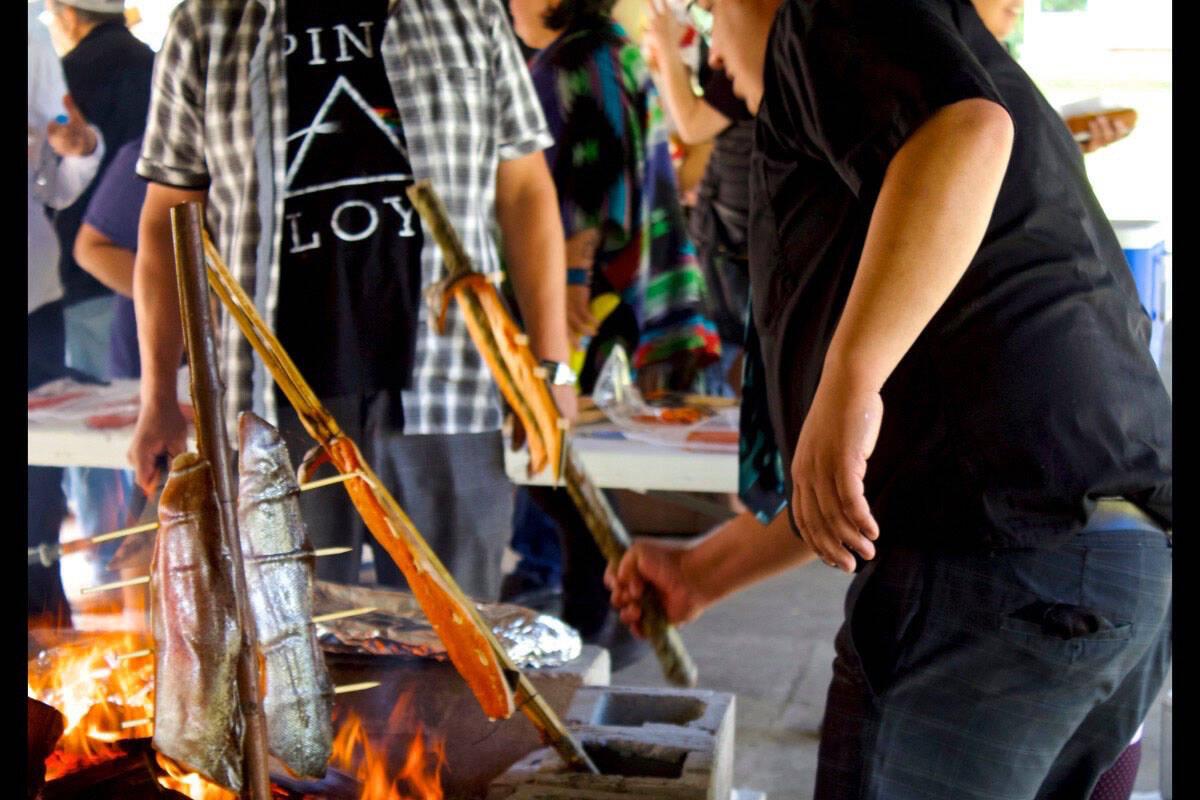 A traditional salmon barbecue on Newcastle Island near Nanaimo. Black Press File Photo