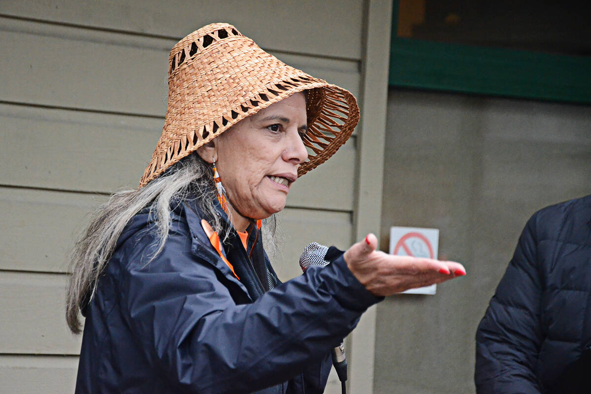 Cecelia Reekie spoke to Langley seniors about her father's experiences with residential school before a walk from the Langley Seniors Resource Centre. (Matthew Claxton/Langley Advance Times)