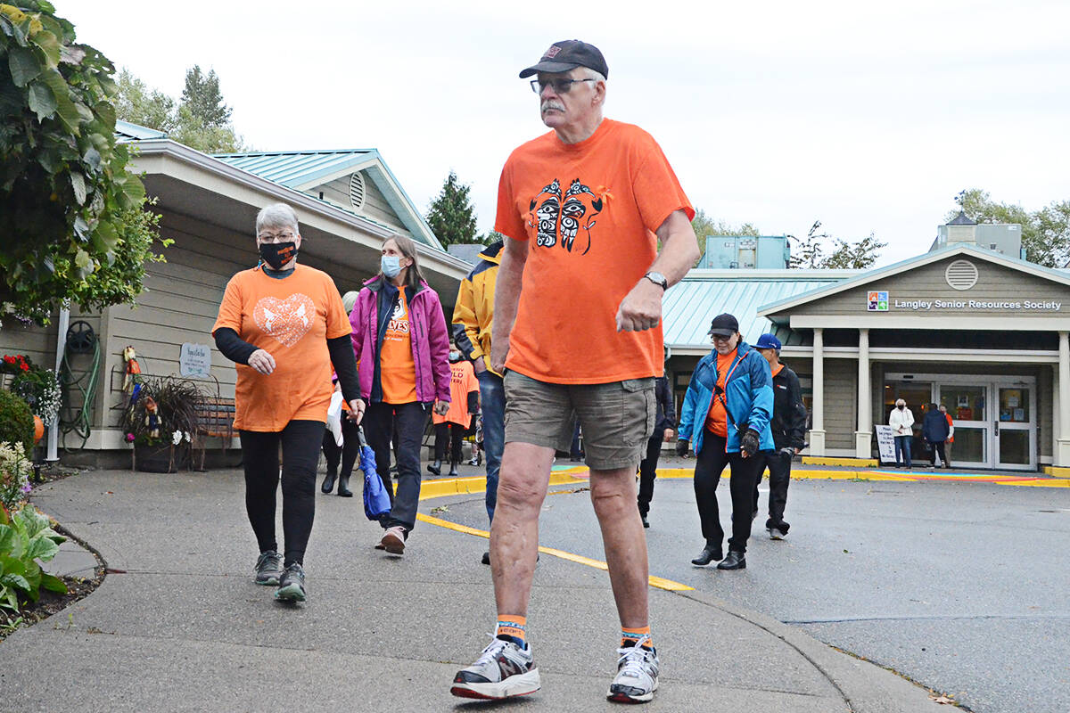 Seniors walked from the Langley Seniors Resource Centre on Thursday, National Truth and Reconciliation Day. (Matthew Claxton/Langley Advance Times)