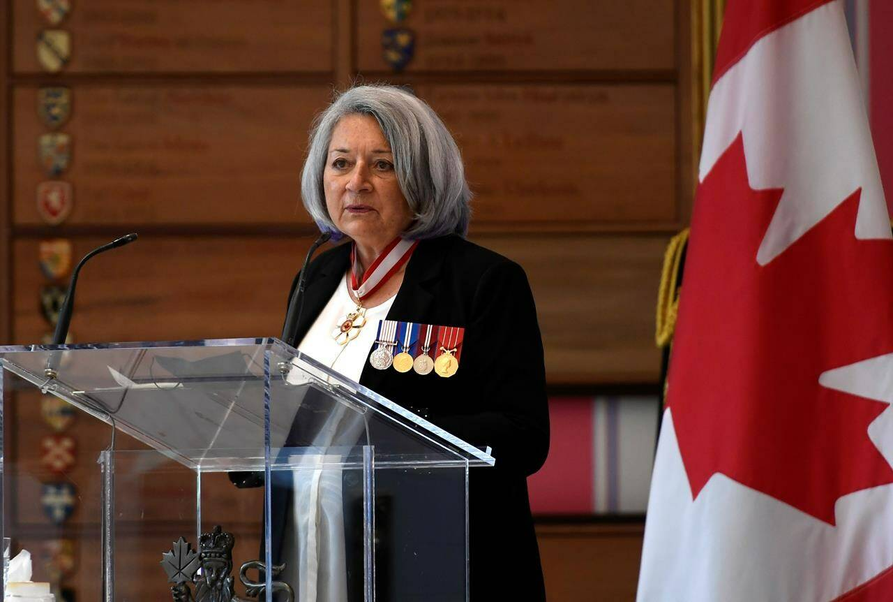 Governor General Mary Simon speaks during the Presentation of Canadian Honours at Rideau Hall in Ottawa, on September 17, 2021. THE CANADIAN PRESS/Justin Tang