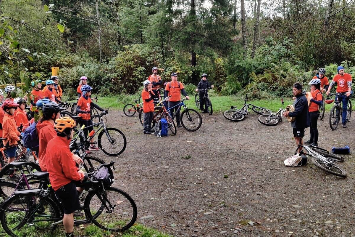 Riders stage before embarking on the shared ride between Homalco First Nation and the River City Cycling Club. (Sean Feagan/Campbell River Mirror)