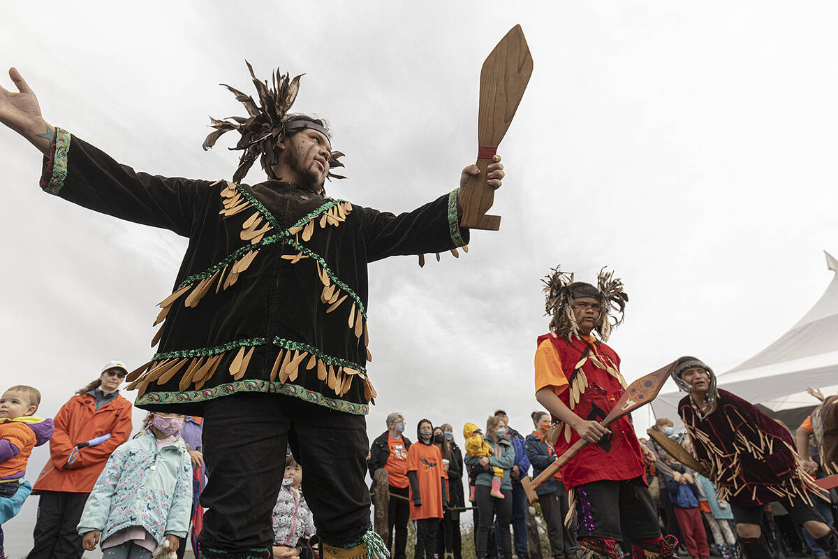 The Lekwungen Dancers perform at the Na'tsa'maht Gathering at Royal Beach Park September 30th in honour of the National Day for Truth and Reconciliation. (Arnold Lim/Black Press Media)