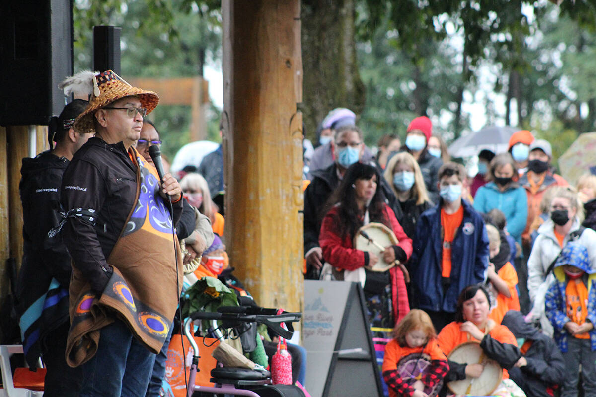 Chief Johnny Williams, elected leader of Sq'ewlets First Nation speaks to the crowd at a gathering to honour the National Day for Truth and Reconciliation. (Patrick Penner/Mission City Record)