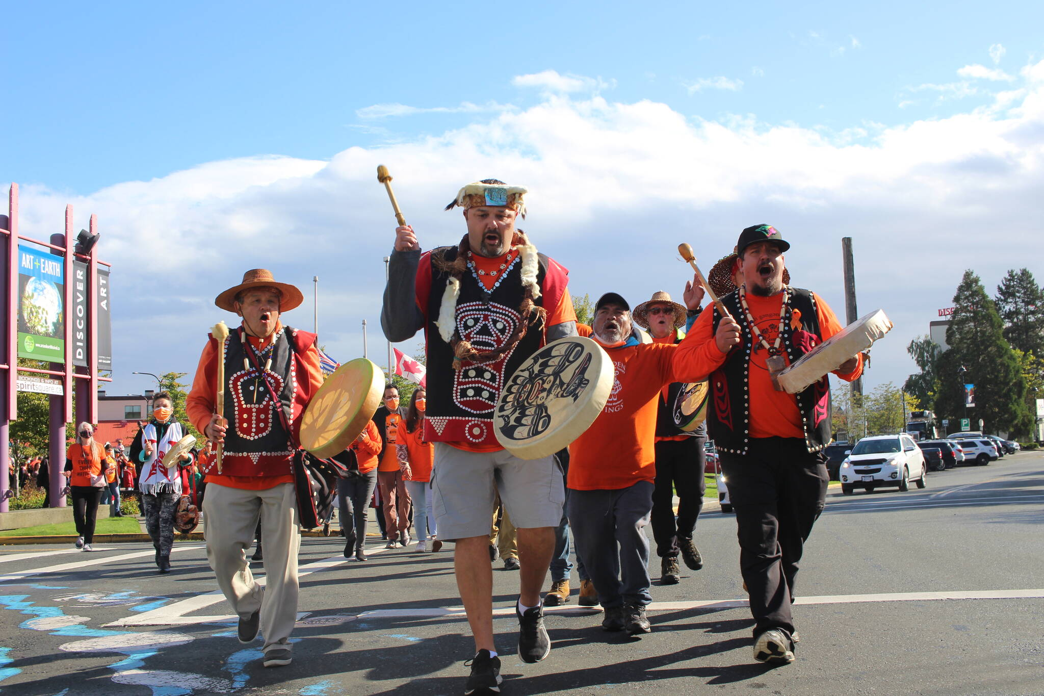 Kakwaka'wakw drummers lead a procession through the streets of Campbell River on the first National Day for Truth and Reconciliation. (Marc Kitteringham/Campbell River Mirror)