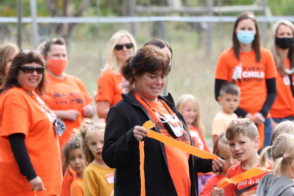 A sea of orange filled Vernon schools as teachers and students celebrated Orange Shirt Day Sept. 29. (Jennifer Smith/Morning Star)
