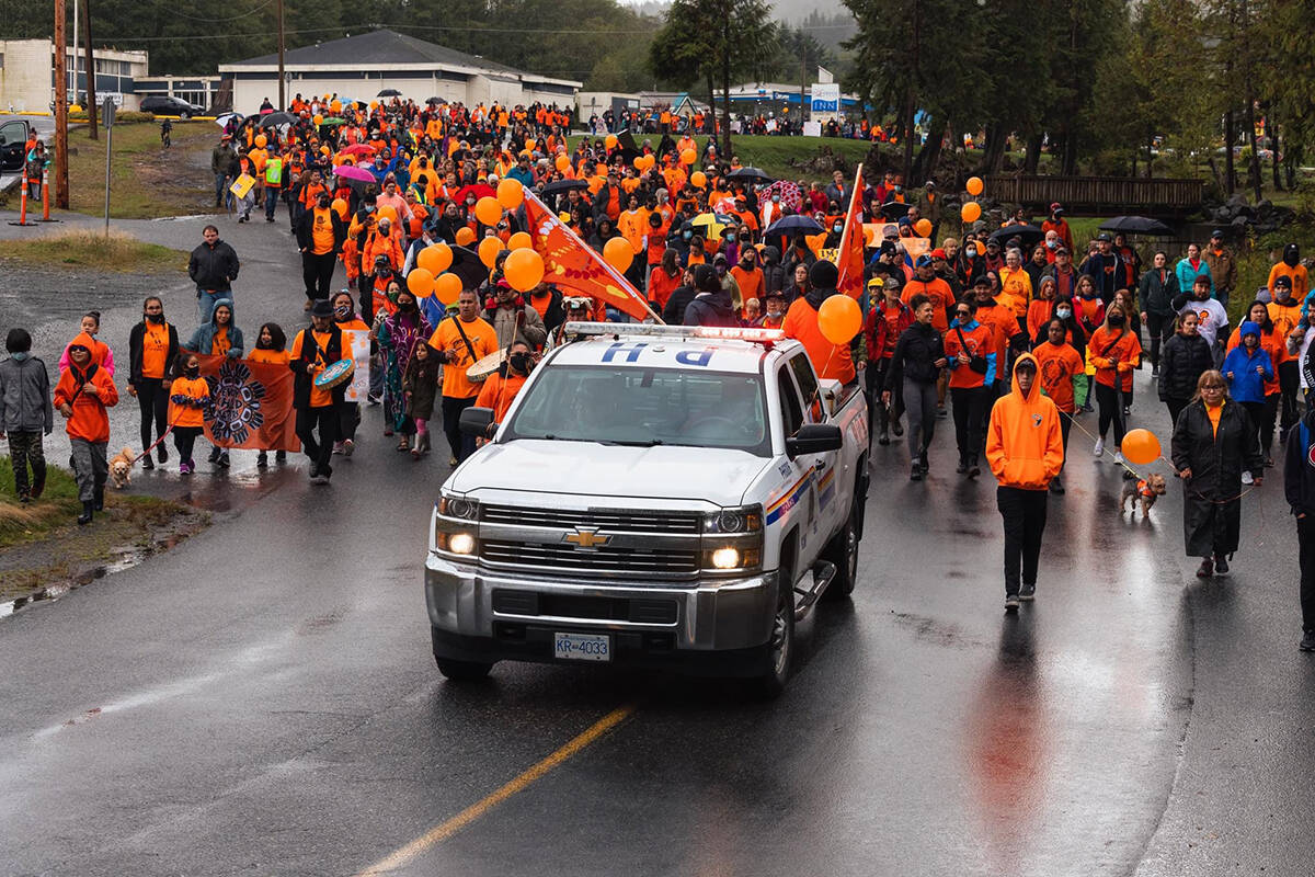 The Tri-bands 'Truth and Reconciliation March' took over the District of Port Hardy's streets on Thursday, Sept. 30. (Brian Texmo/BKR Photography)