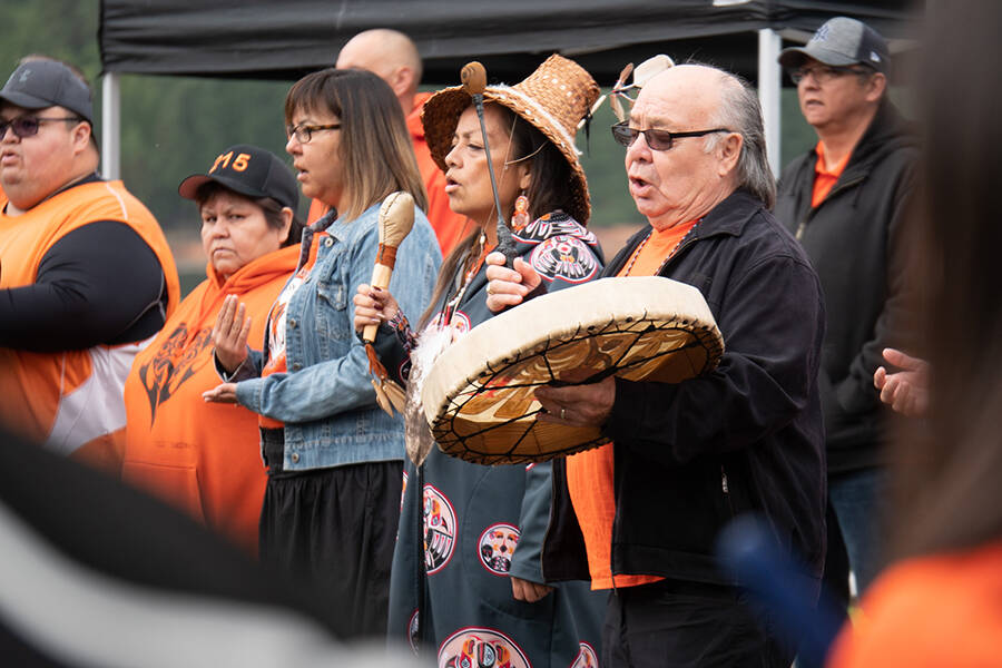 Stz'uminus elder George Harris sang the nation's anthem and shared the story behind it at an event for National Day for Truth and Reconciliation on Sept. 30. at Transfer beach. (Photo by Tyler Hay)