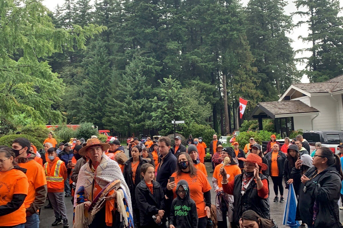 Hundreds gathered to honour the inaugural National Day for Truth and Reconciliation on Thursday, Sept. 30. They walked nearly four kilometres to bring awareness and healing to residential school survivors and victims. (Adam Louis/Agassiz Observer)