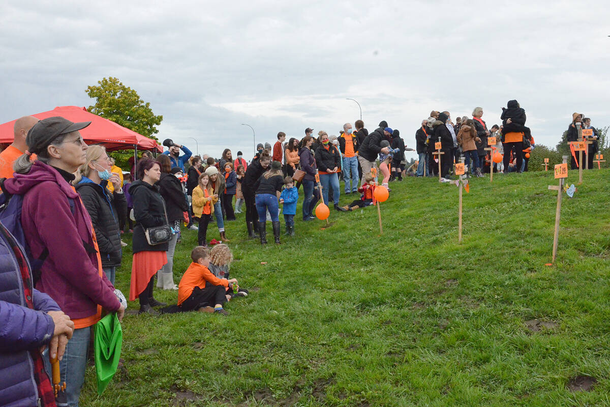 The rains stopped as large numbers of people gathered at the Derek Doubleday Arboretum for National Truth and Reconciliation Day. (Heather Colpitts/Langley Advance Times)