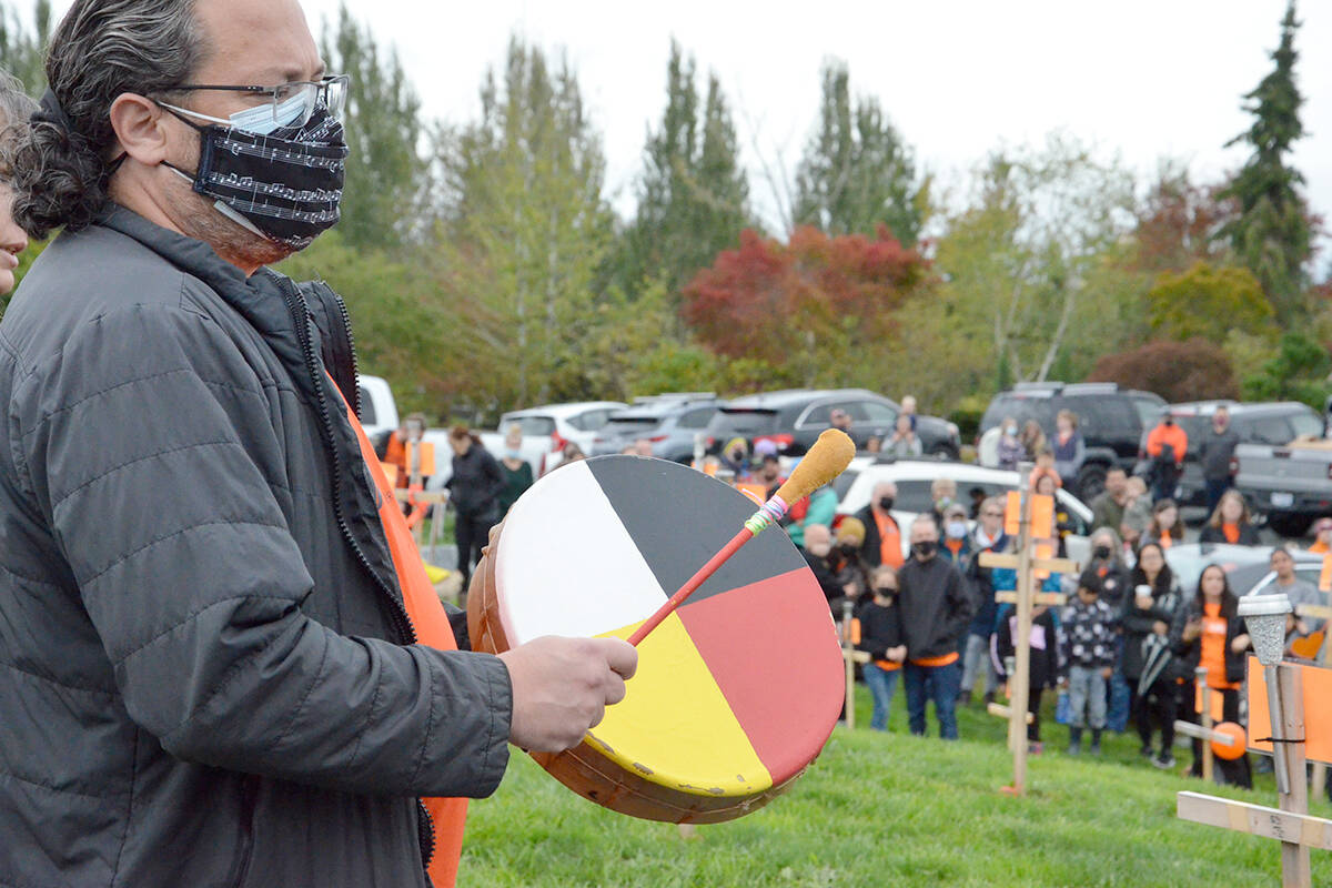 Drummers and singers of all ages gathered on Thursday afternoon at the community event to mark the National Day of Truth and Reconciliation. (Heather Colpitts/Langley Advance Times)