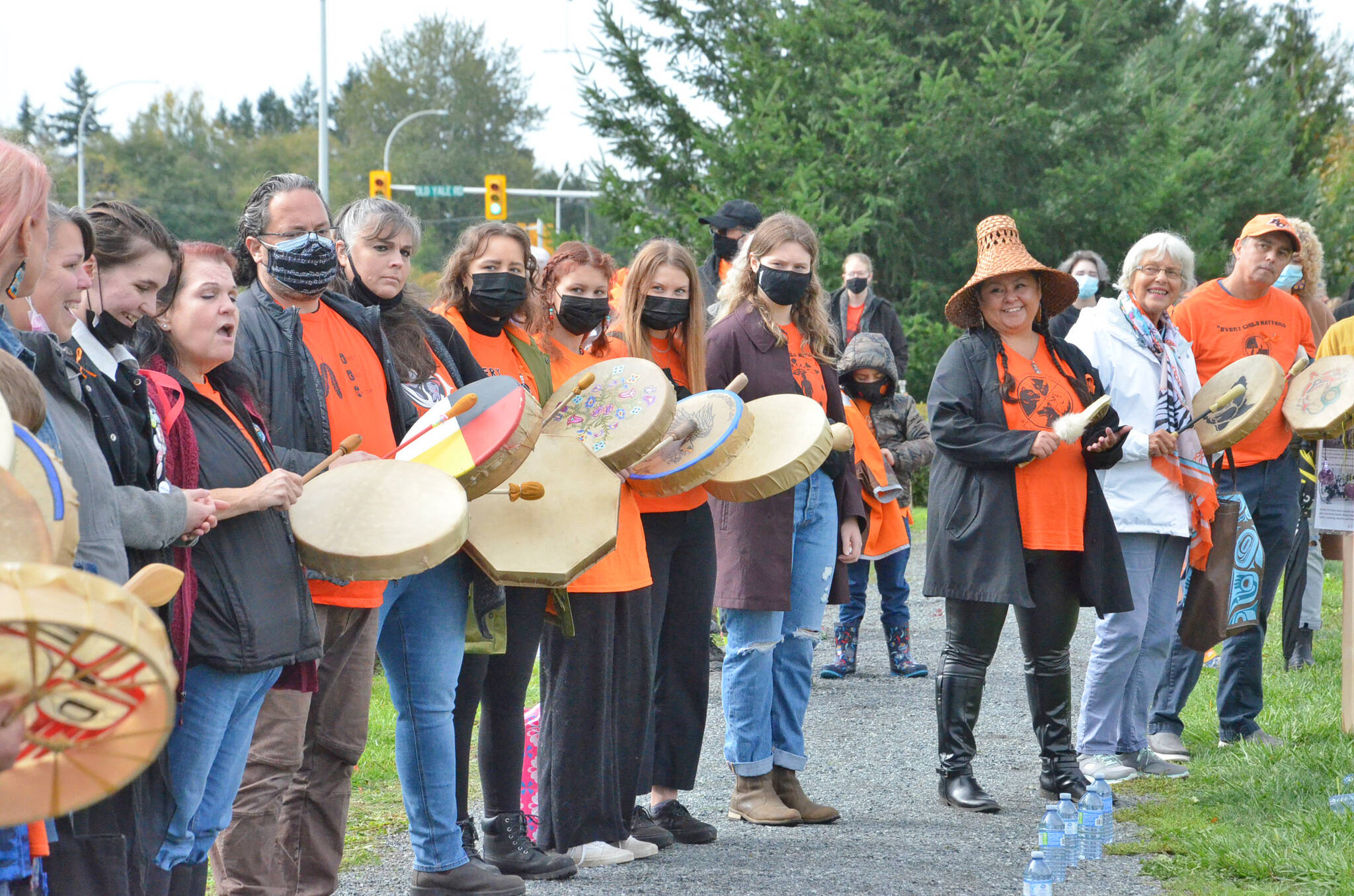 Drummers were invited to gather on the afternoon of Thursday, Sept. 30 as part of a local event to honour the National Day of Truth and Reconciliation in Langley. (Heather Colpitts/Langley Advance Times)