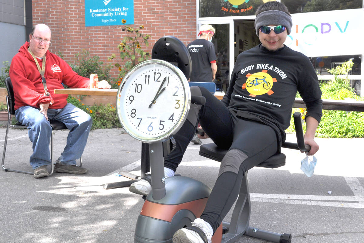 Travis Bridge takes part in the 10-hour Bike-A-Thon held at Bigby Place. Participants were raising money for Nelson adults with special needs to travel to an athletics event in 2022. Photo: Tyler Harper