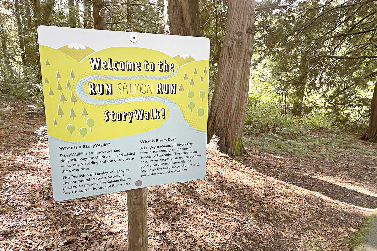 The tale featured on the StoryWalk is <em>Bob's and LoLo's Run Salmon Run</em> (Langley Township/Special to the Langley Advance Times)