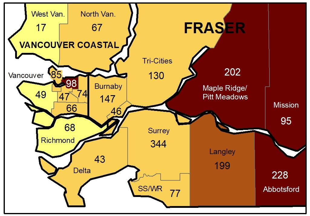 Coronavirus numbers are rising across most of the Fraser Health region, including in Langley. (BCCDC)