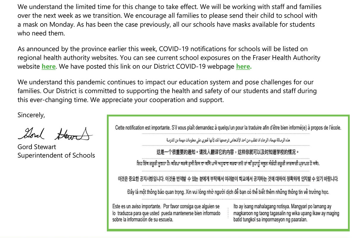The notice sent out Friday, Oct. 1 to families includes a note in various languages about the importance of the information being distributed. (SD35)