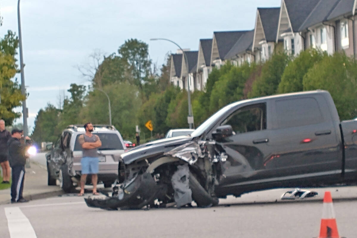 Willoughby resident Jesmina Biserovic says there's too many crashes at 84th Avenue and 208A Street, and would like the Township to take action. (Jesmina Biserovic/Special to the Langley Advance Times)