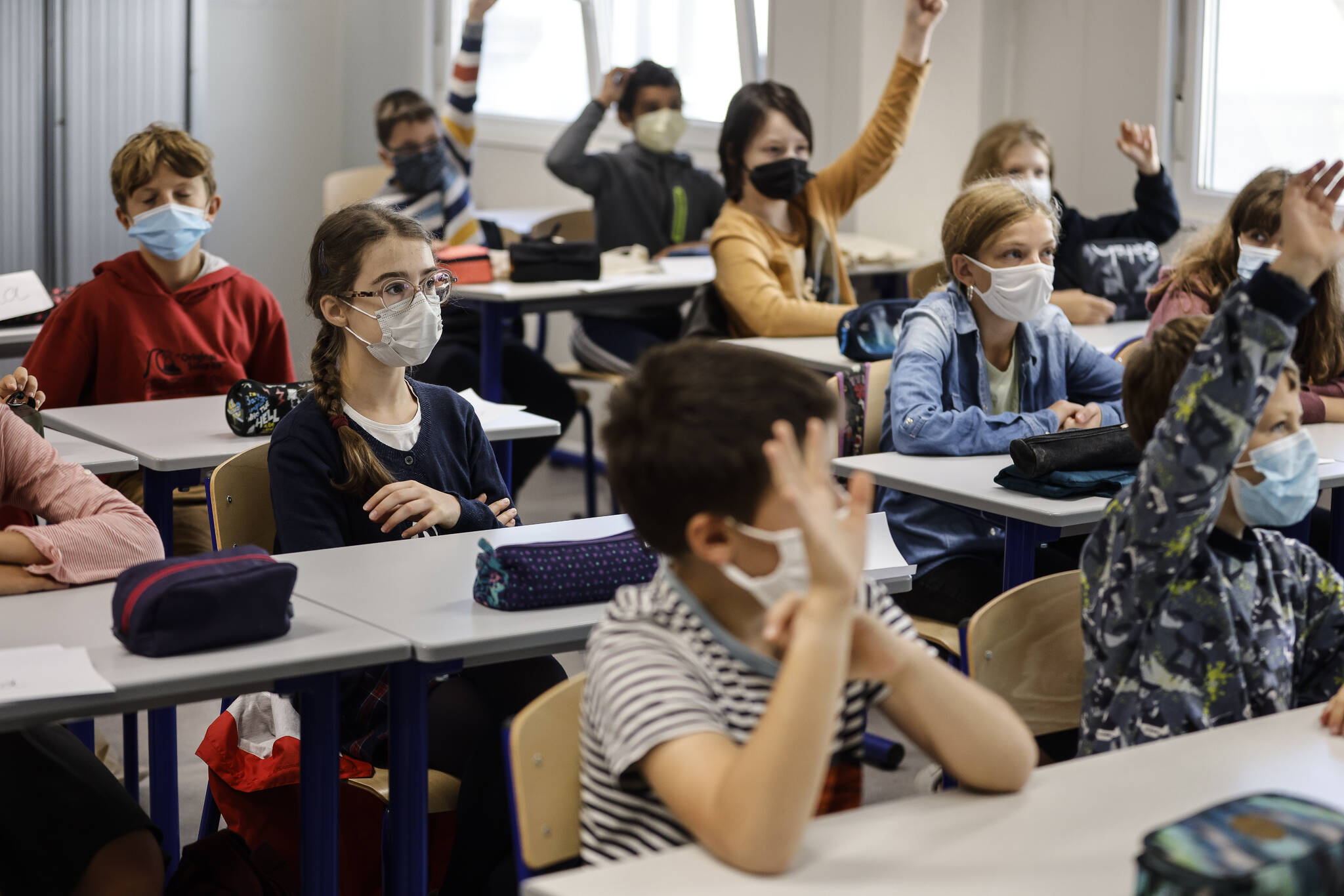 Children at school in Strasbourg, France, Sept. 2, 2021. B.C. has extended its mask rules to include children from kindergarten to grade three until at least January. (AP Photo/Jean-François Badias)