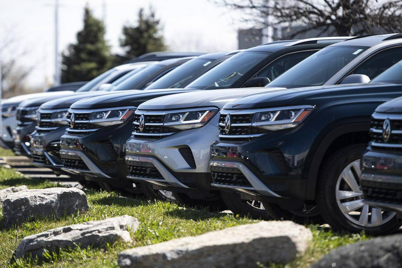 New Volkswagen SUVs for sale are seen at an auto mall in Ottawa, on Monday, April 26, 2021. Canadian auto sales fell 19.6 per cent in September from a year earlier as supply shortages caused by semiconductor supply issues continues to weigh. THE CANADIAN PRESS/Justin Tang