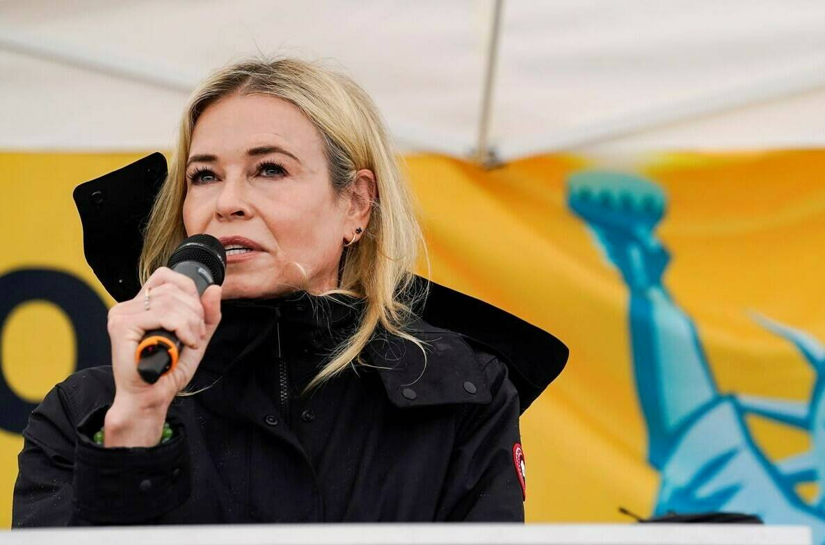 Comedian Chelsea Handler gives a speech during a Women's March on Saturday, Oct. 2, 2021, at Lugar Plaza at the City-County Building, Indianapolis. Rallies were held in major cities across the country to demand continued access to abortion. (Grace Hollars /The Indianapolis Star via AP)