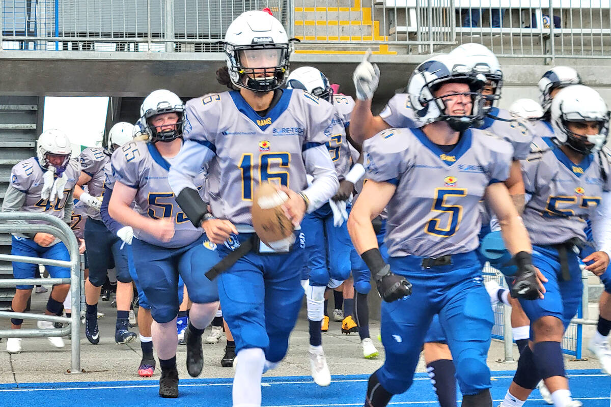 Langley Rams won their fourth in a row of the season on Saturday, Oct. 2, downing the Westshore Rebels 37-7 at home. (Dan Ferguson/Langley Advance Times)