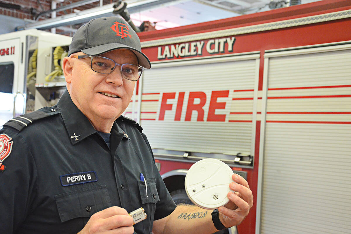 Langley City's fire safety officer, Capt. Brent Perry, is reminding people to change the batteries in smoke alarms and carbon monoxide monitors this fall. (Matthew Claxton/Langley Advance Times)