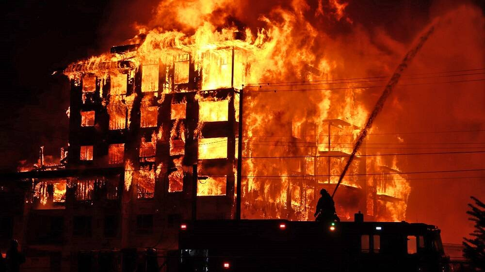 Willoughby condo fire at 208th Street and 80th Avenue on April 19, 2021. (Shane MacKichan/Special to Langley Advance Times)