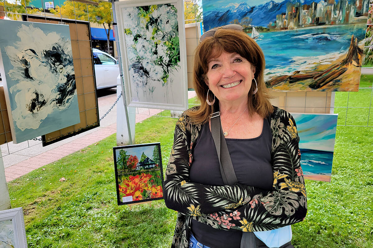Artist Susan McClain was among the participants in the 'Art Crawl at the Hall' event on Sunday, Oct. 3 on the front lawn of the historic Fort Langley community hall. (Dan Ferguson/Langley Advance Times)