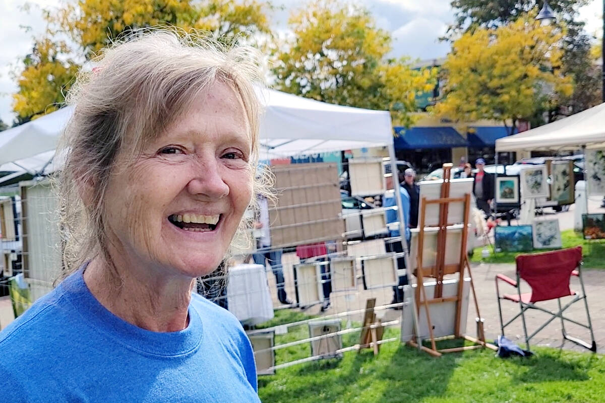 Fort Langley community hall executive director Brigitte Seib said the 'Art Crawl at the Hall' event on Sunday, Oct. 3 came about to bring arts and culture to the front lawn of the historic building. (Dan Ferguson/Langley Advance Times)