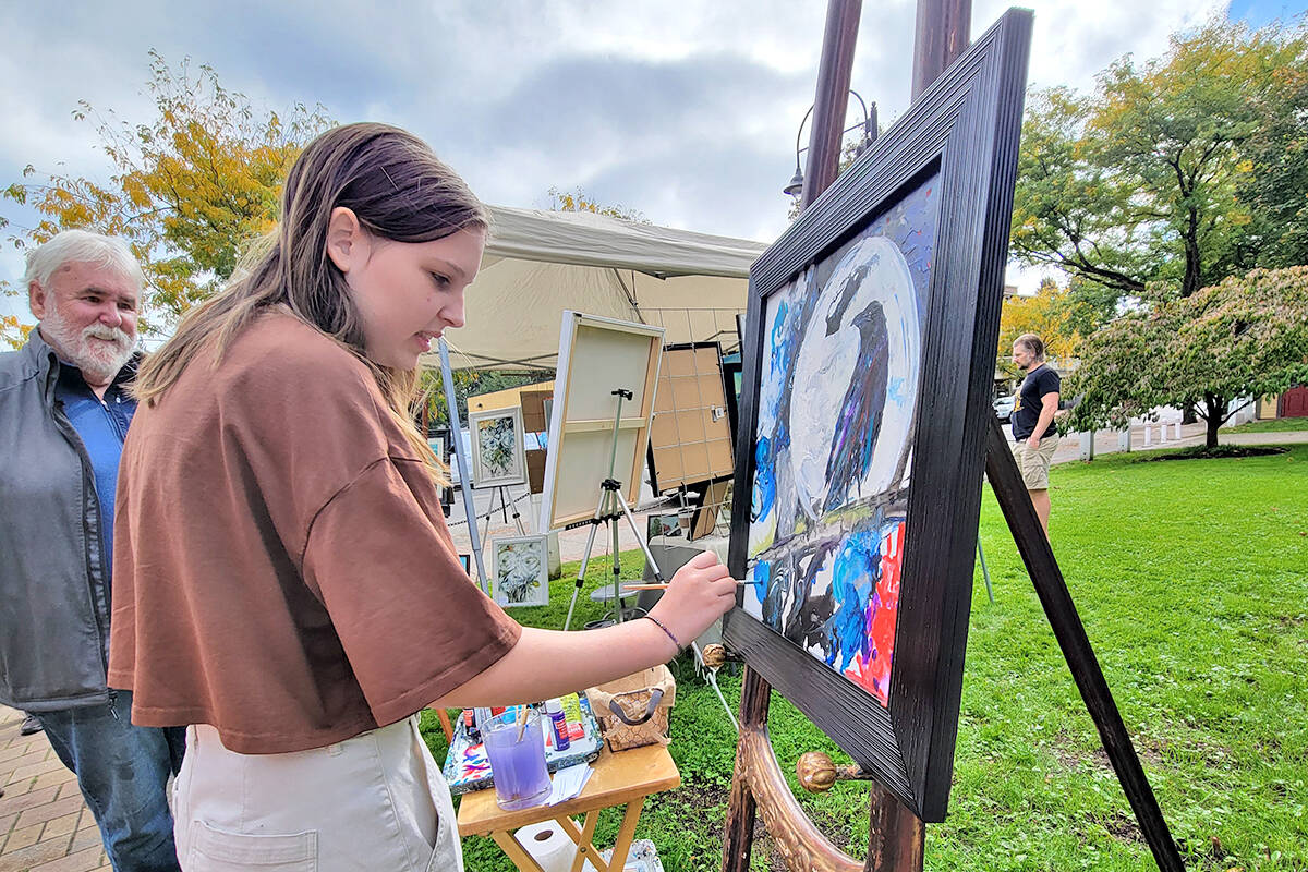 Five artists took part in the 'Art Crawl at the Hall' event on Sunday, Oct. 3 on the front lawn of the historic Fort Langley community hall. (Dan Ferguson/Langley Advance Times)