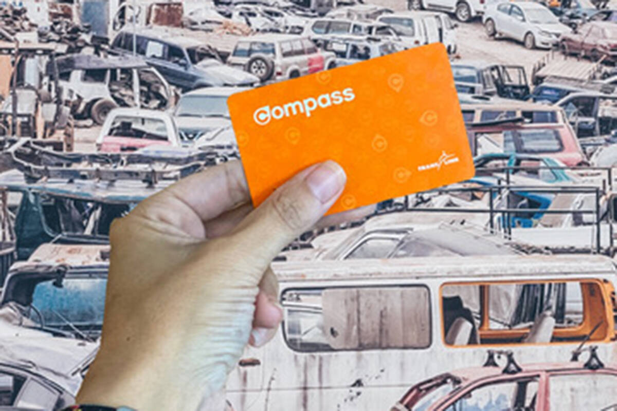 Vancouver residents can get free transit passes in exchange for scrapping their old cars. (Supplied by TransLink.)