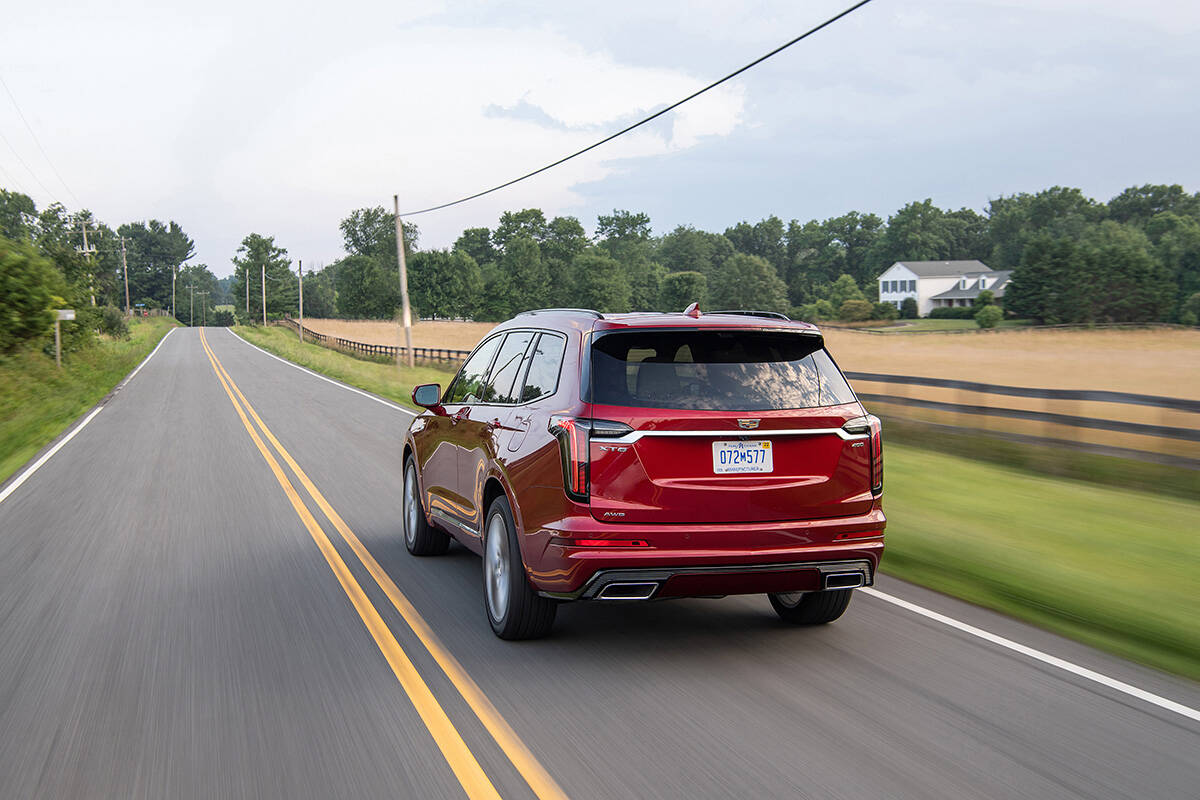 All-wheel-drive is standard with either engine. The AWD version that comes with the Sport trim adds torque vectoring for more precise cornering. PHOTO: CADILLAC