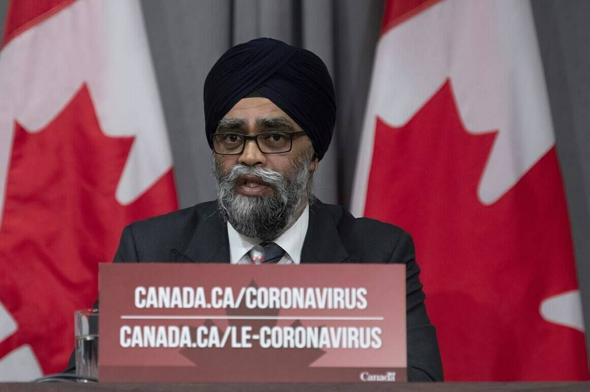 Minister of National Defence Harjit Sajjan speaks during a news conference Thursday May 7, 2020 in Ottawa. Sajjan says that as part of Operation LASER, Canadian Armed Forces members will use their experience to help Alberta in the fight against the fourth wave of the pandemic. THE CANADIAN PRESS/Adrian Wyld