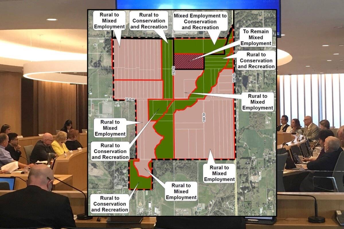 Metro Vancouver's regional planning committee will hear delegations Friday (Oct. 8) regarding the City of Surrey's quest to redesignate South Campbell Heights lands. (File photo/City of Surrey graphic)