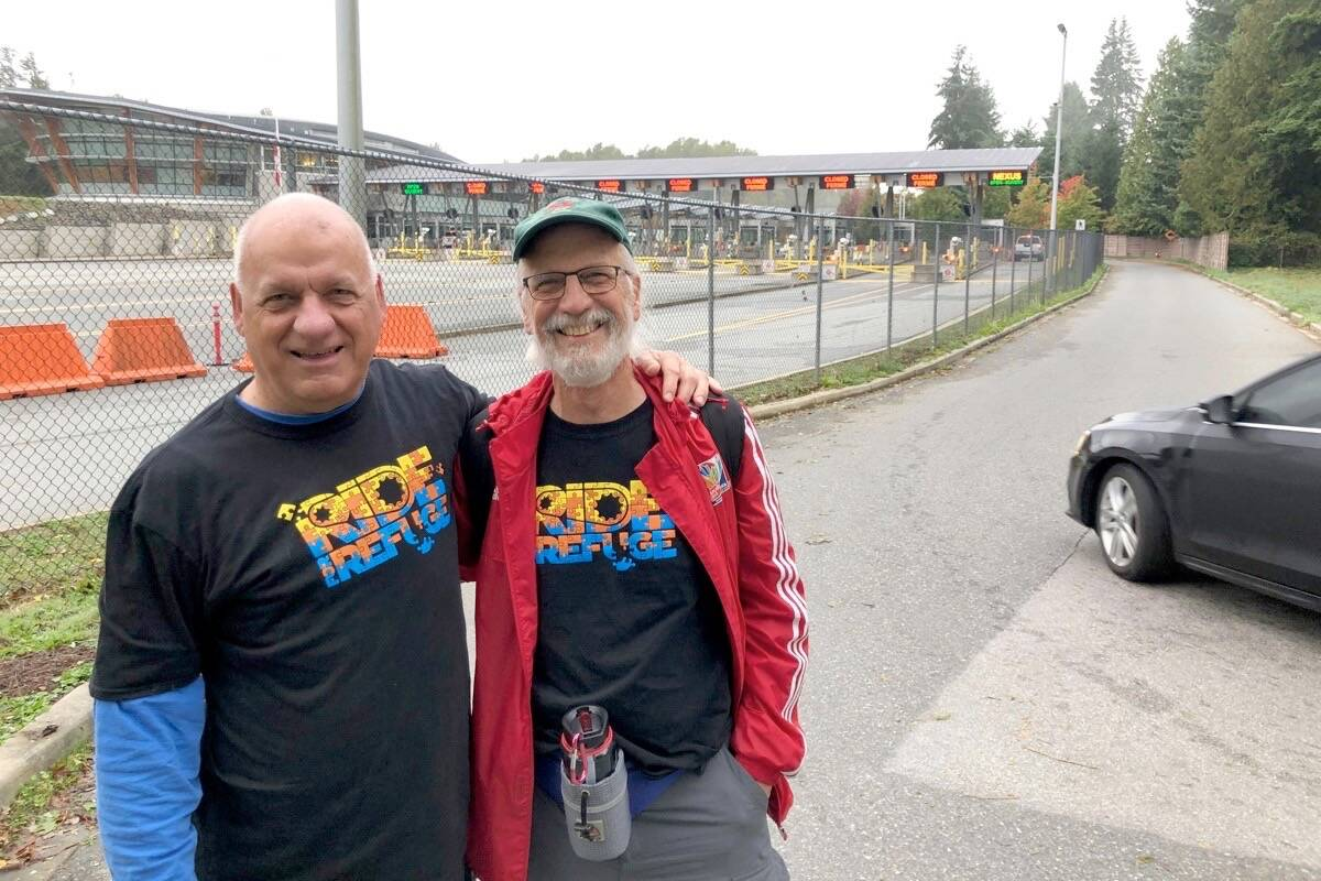James Grunau (left) and John Dyck, two of Journey Home Community's founders, set off from the Peace Arch/Douglas border to Welcome Homes in New Westminster on Friday (Oct. 1, 2021) to bring attention to the displacement refugee families face. (Contributed photo)