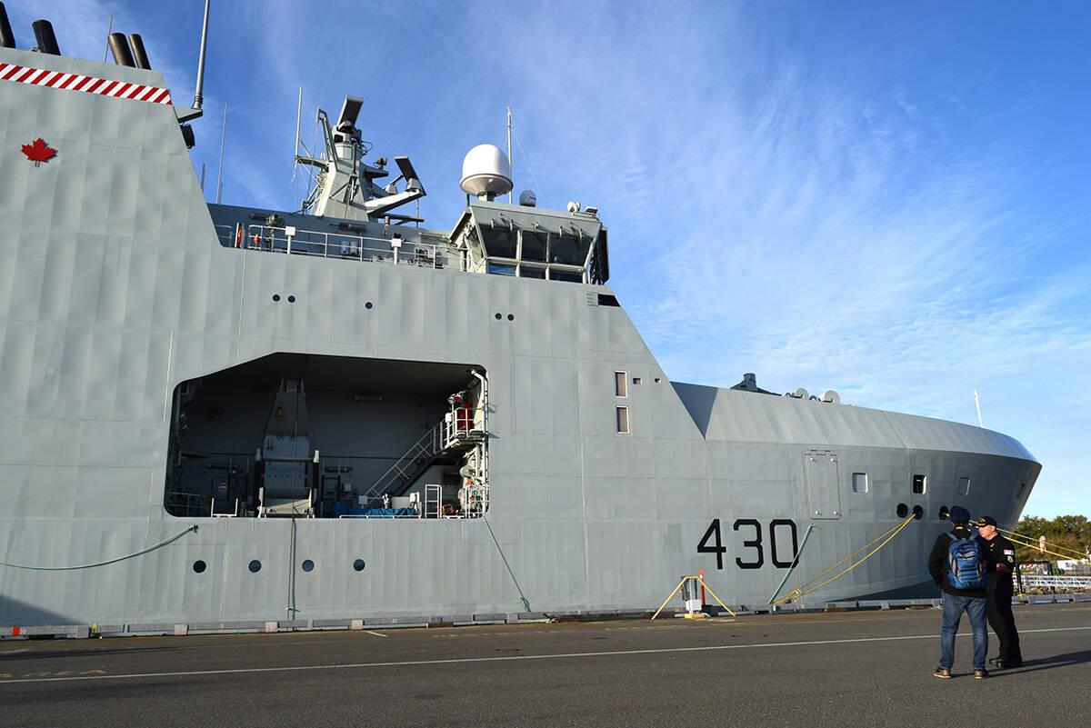 HMCS Harry DeWolf's starboard multi-role rescue boat hold. The vessel docked at Ogden Point Oct. 3. (Kiernan Green/News Staff)