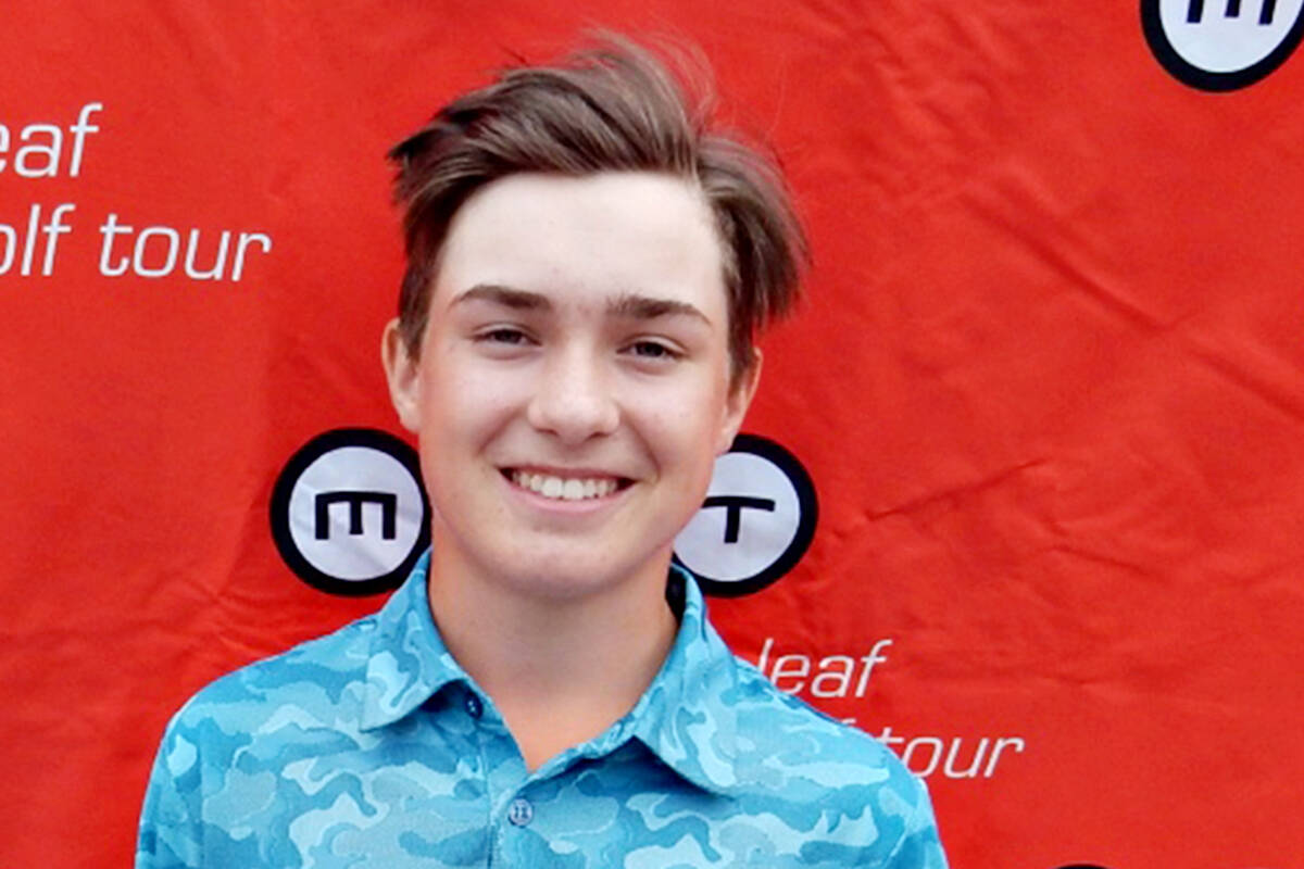 Langley's Caleb Davies, 16, earned his fourth title of the season at the Maple Leaf Junior Golf Tour's (MJT) Ford Series at Mayfair Lakes Golf Course in Richmond. (file)