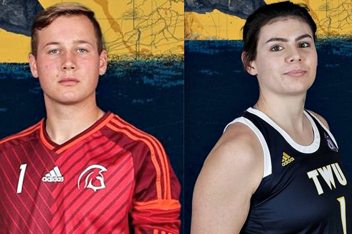 Langley's Sebastian Colyn has become Trinity Western University's winningest soccer goalkeeper. Colyn and basketball standout Nicole Fransson were named TWU's Spartan Male and Female athletes of the week. (TWU/Special to Langley Advance Times)