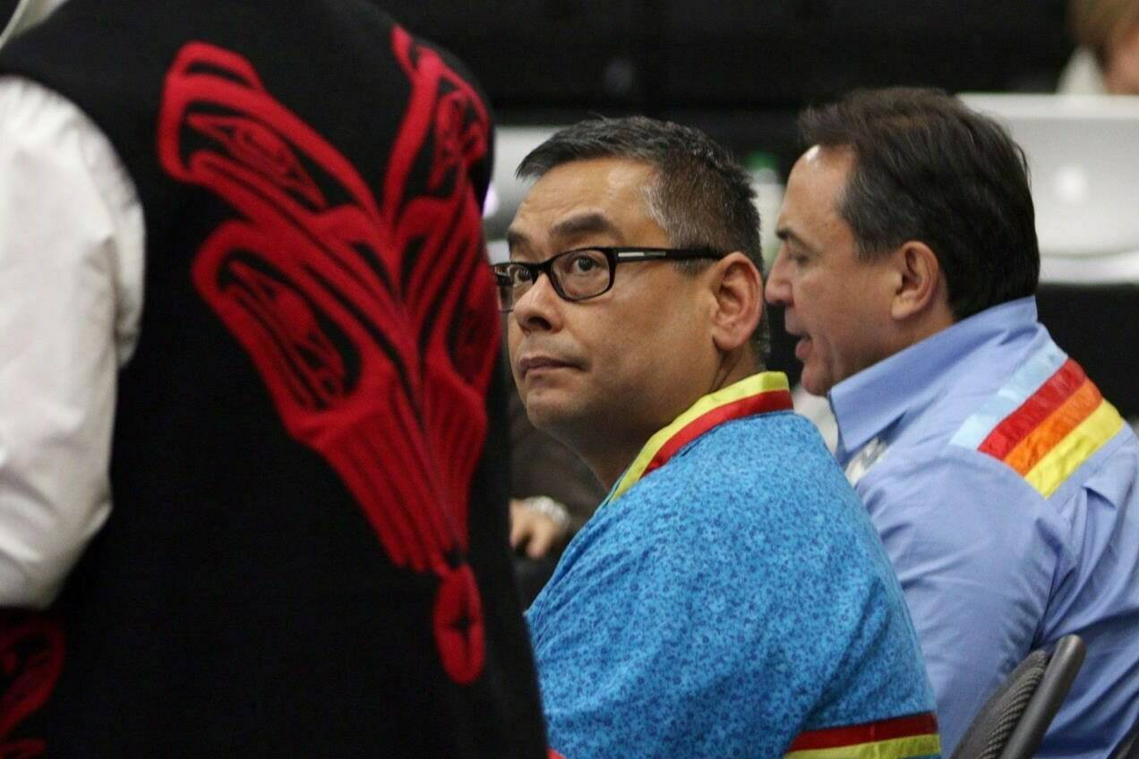 Regional Chief Shane Gottfriedson looks on as Carolyn Bennett, Minister of Indigenous and Northern Affairs, speaks at the Assembly of First Nations' annual general meeting at the Songhees Wellness Centre in Victoria on October 24, 2016. THE CANADIAN PRESS/Chad Hipolito