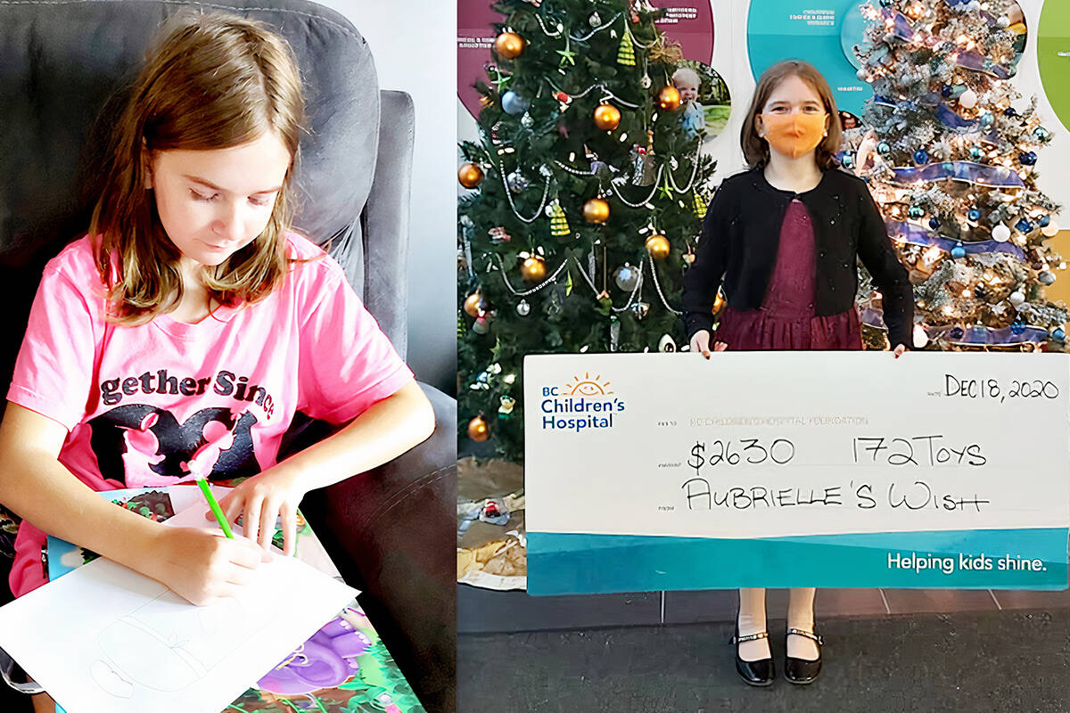 Last year, Willoughby resident Aubrielle Bibeau of Langley, 11, raised $2,630 and donated 172 toys to sick children by selling her artwork. (Special to Langley Advance Times)