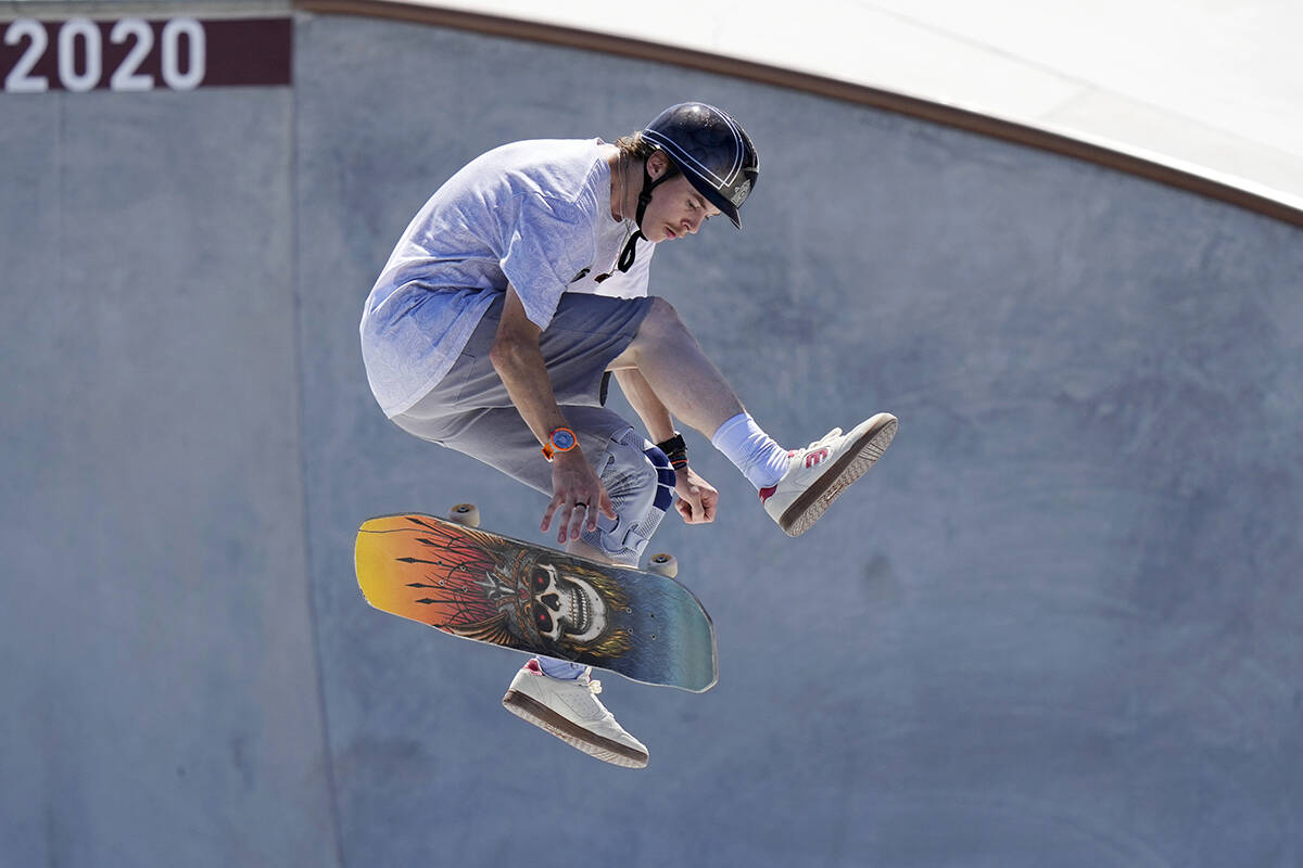 White Rock's Andy Anderson competes in the men's park skateboarding preliminary heats at the Tokyo Summer Olympics on Aug. 5. Though he didn't advance to the final round, he gained a fan in legendary skater Tony Hawk. (AP Photo/Ben Curtis)