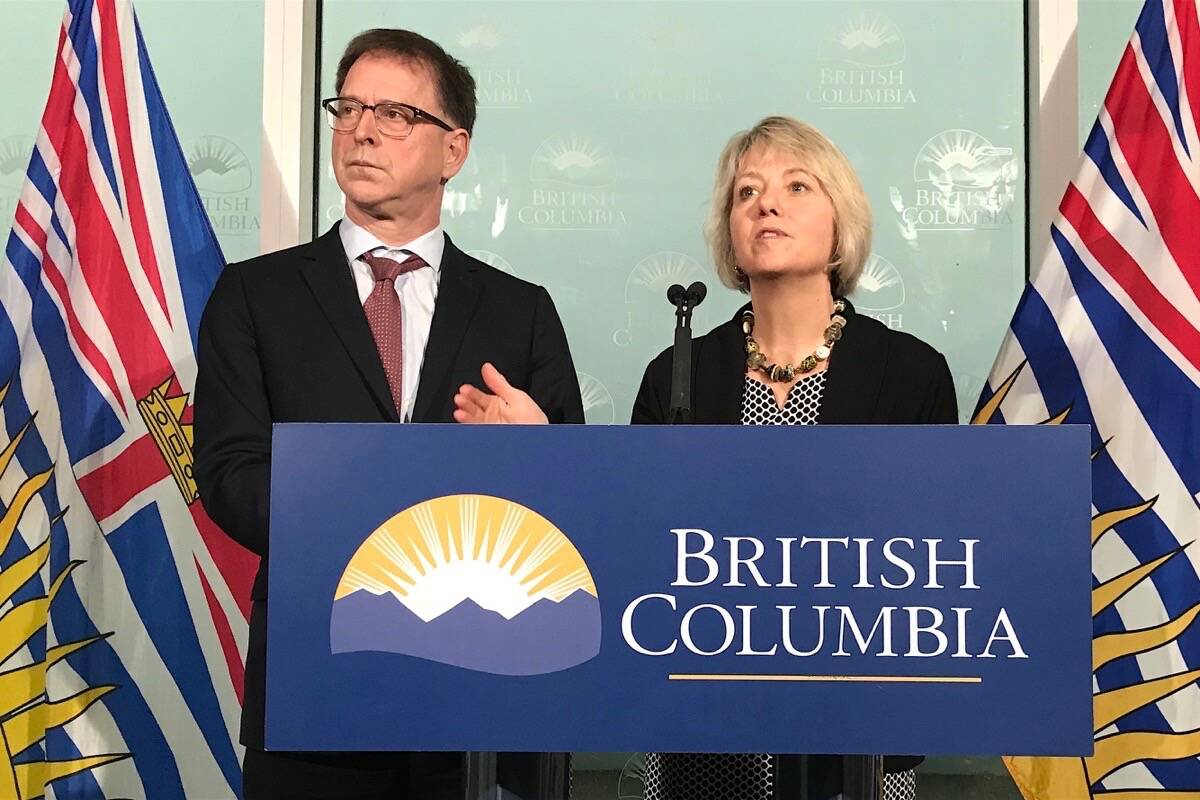 B.C. Health Minister Adrian Dix and provincial health officer Dr. Bonnie Henry. (Courtesy of B.C. government)