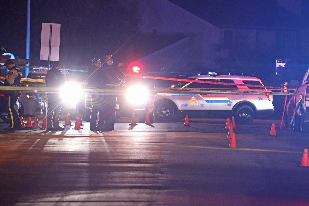 Police are investigating after a fatal shooting in Newton in the 12200-block of 80 Avenue Tuesday night (Oct. 5, 2021). (Photo: Shane MacKichan)