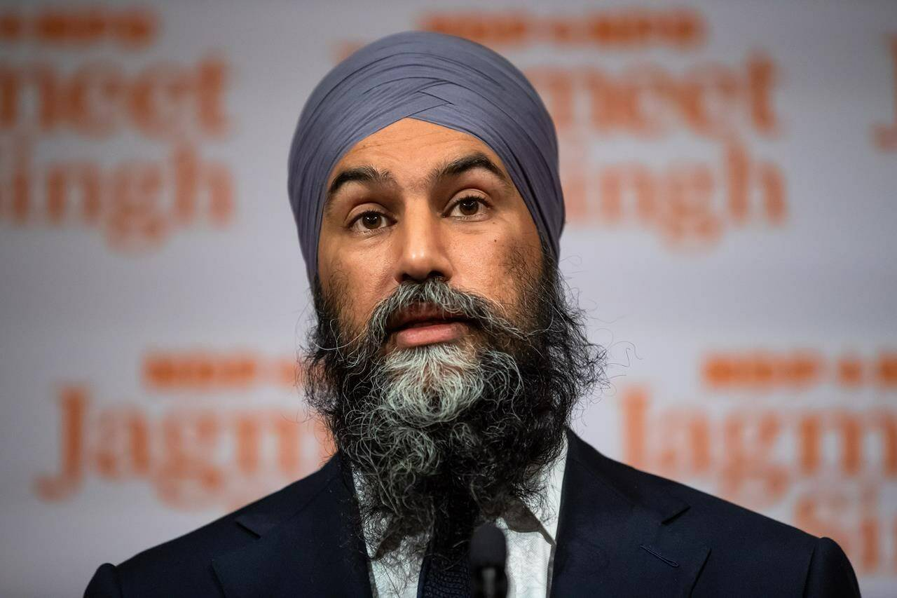 NDP Leader Jagmeet Singh speaks during a post-election news conference in Vancouver, on Tuesday, September 21, 2021. THE CANADIAN PRESS/Darryl Dyck