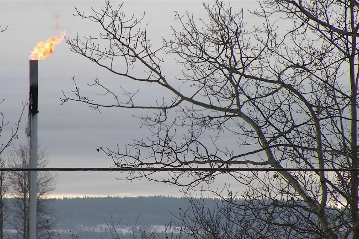 Gas flare near Dawson Creek B.C., the province's main region for gas and oil production. (Tom Fletcher/Black Press)