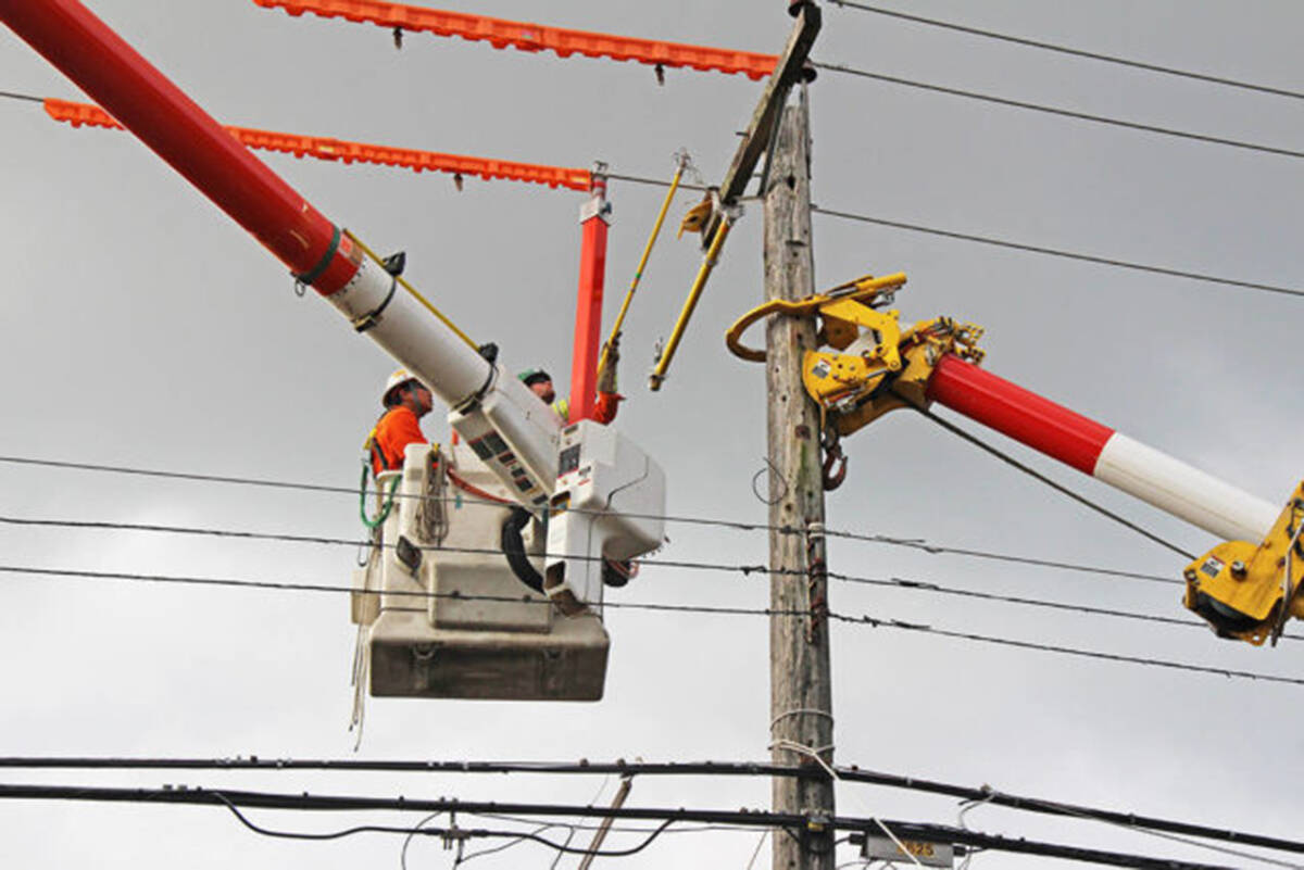 BC Hydro works to upgrade a power pole. (File photo)
