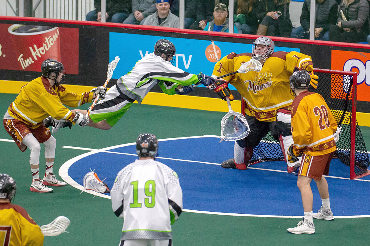 Austin Murphy makes a diving attempt to score on goaltender Craig Rende during 2018 ALL action. Murphy has spent time in the NLL with the Saskatchewan Rush. (Tim Prothero Vintage Lax/Special to Langley Advance Times)