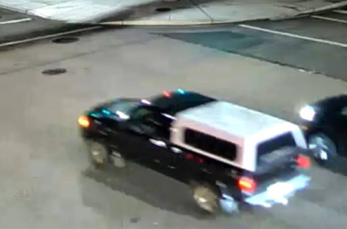 IHIT has released surveillance image of a black Ford pickup truck that was found on fire in the area of 129A Street and 72A Avenue Oct. 5, 2021, shortly after 28-year-old Sharnbeer Singh Somal was shot dead in a drive way on 122A Street near 80 Avenue. (Image: IHIT handout)