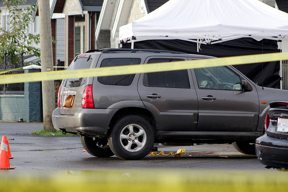 Police had 122A Street, between 78 and 80 avenues, blocked off Oct. 5 and 6, 2021 following a fatal shooting. The victim has now been identified as 28-year-old Sharnbeer Singh Somal, who was known to police. (Photo: Lauren Collins)